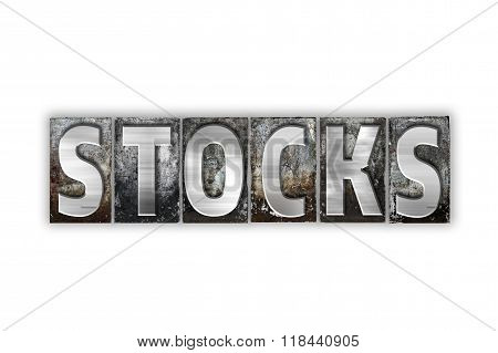 Stocks Concept Isolated Metal Letterpress Type