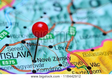 Nove Zamky pinned on a map of Slovakia