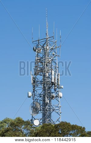 Antenna tower on top of a hill