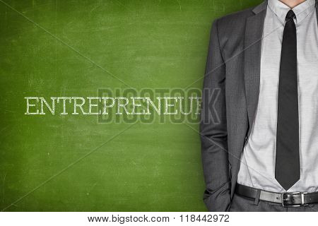 Entrepreneur on blackboard
