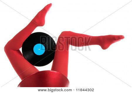 Female Feet With Vinyl Record