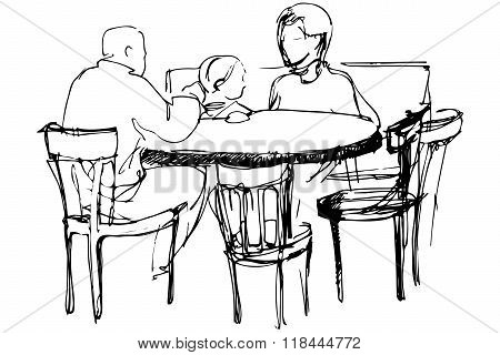 Vector Sketch Of Father And Mother With Her Daughter At A Table In A Cafes