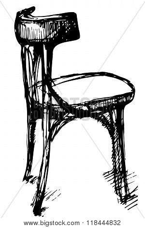 Vector Sketch Of Viennese Bent Wood Chair
