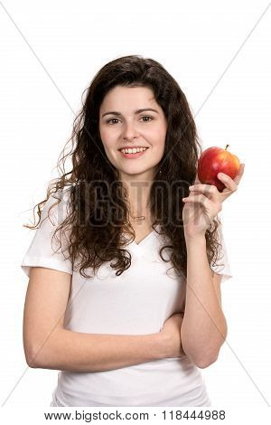 Woman Holding Healthy Apple