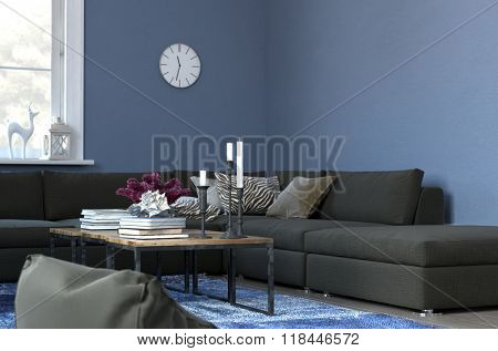 Cozy Living Room with Clock Hanging on Blue Walls Above Sectional Sofa - Coffee Table with Books and Candle Holders in Center of Modern Sitting Room. 3d Rendering.