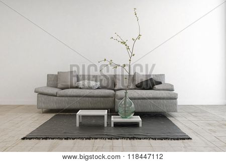 Monochrome Image of Contemporary Furniture in Spacious Living Room with Wooden Floor - Gray Sofa with Tables and Hanging Lamp in Large Living Room with White Walls and Copy Space