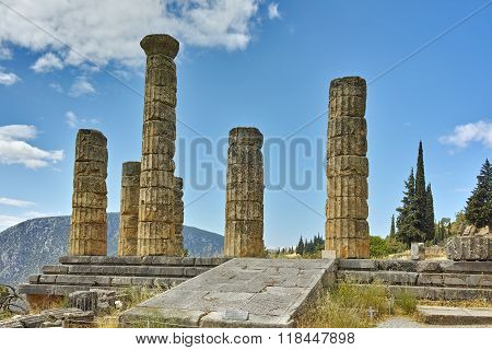 Landscape with The Temple of Apollo in Ancient Greek archaeological site of Delphi, Greece