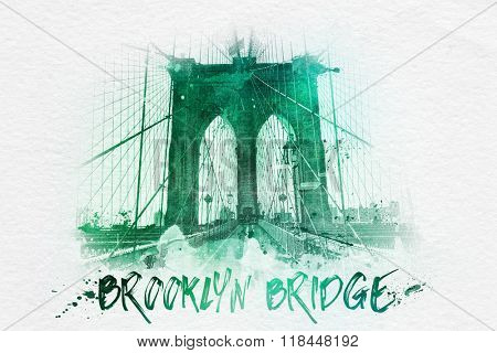 Green monotone front low angle view of walkway with Brooklyn Bridge text at bottom as a drawing with splattered ink