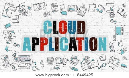 Cloud Application Concept. Multicolor on White Brickwall.