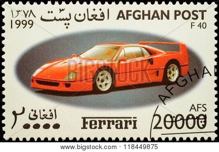 Sport Car Ferrari F40 On Postage Stamp
