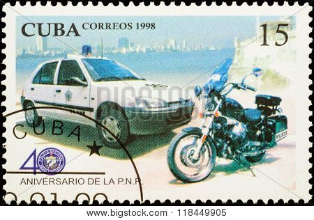Police Car And Motorcycle On Postage Stamp