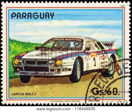 Car Lancia Rally On Postage Stamp