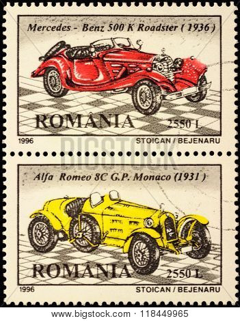 Set Of 2 Postage Stamps With Retro Sport Cars
