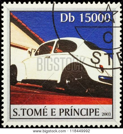 White Retro Car On Postage Stamp