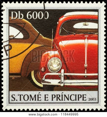 Red Retro Car On Postage Stamp