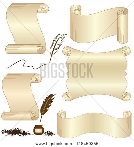 Parchment Vector Set With Feather Isolated On White
