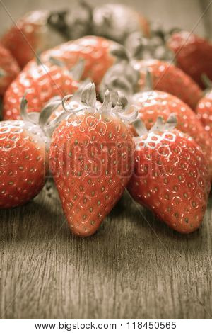 Close Up Of Group Of Fresh Red Strawberry made With Filter