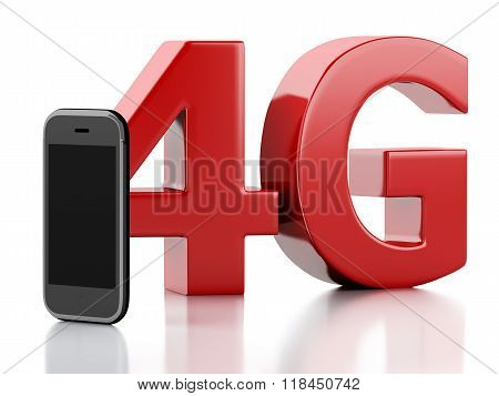3D  Smart Phone With 4G Lte Wireless Sign. Technology Concept