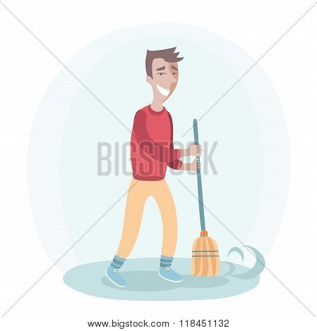 Smiling man with a broom