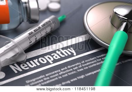 Neuropathy - Printed Diagnosis on Grey Background.