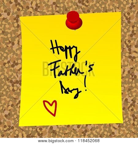 Paper Note With Happy Father's Day Message