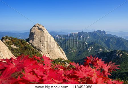 Baegundae Peak And Bukhansan Mountains In Autumn,seoul In South Korea.