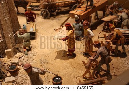 Model. Civil engineering work and people in ancient time.