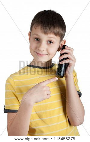 Cute Boy With Telephone In His Hands