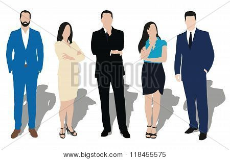 Collection Of Business People Illustrations In Different Poses. Men And Women At Work. Teacher, Lawy