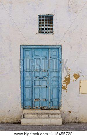 Old Blue Entrance Door In Tunisia