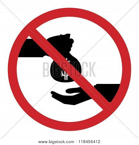 Flat Design Icon Of Restrict About Businessman Take Bribe From Partner. Corruption In Business Conce