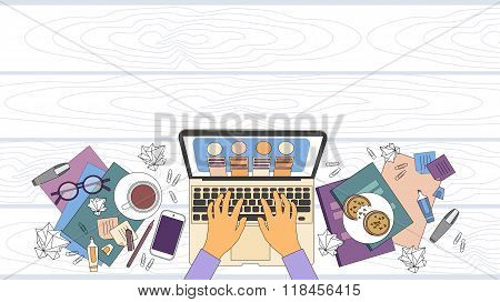 Businessman Workplace Desk Hands Working Laptop Top Angle Above View Office Copy Space
