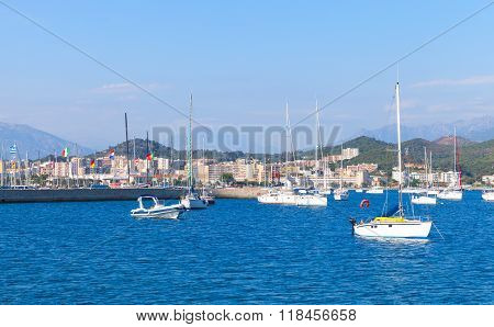 Sailing Yachts And Motorboats Moored In Port Of Ajaccio