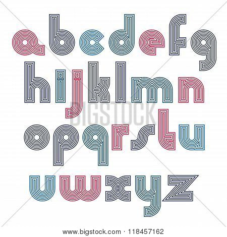 Unusual Rounded Colorful Font Created From Parallel Lines. Vector Stylish Lower Case Letters, Typesc