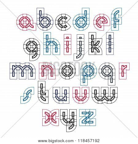 Colorful Technical Small Characters Created From Sections, Light Industrial Lowercase Letters Isolat
