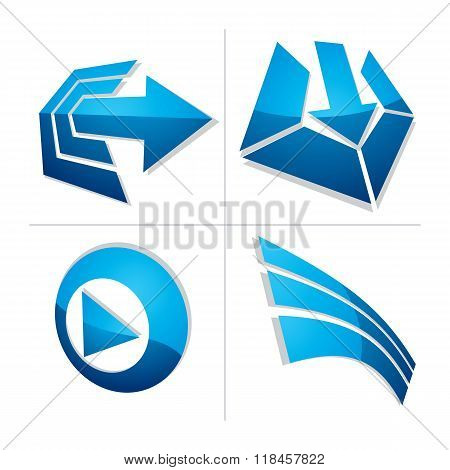 Set Of Three-dimensional Abstract Icons, Play Sign, Special Arrow. 3D Vector Push Button, Multimedia