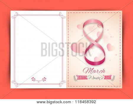 Elegant greeting card design with stylish text 8 March, made by glossy pink ribbon on hearts decorated background for Happy Women's Day celebration.