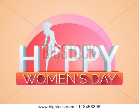 Creative 3D text Happy Women's Day with illustration of a young girl on shiny background.