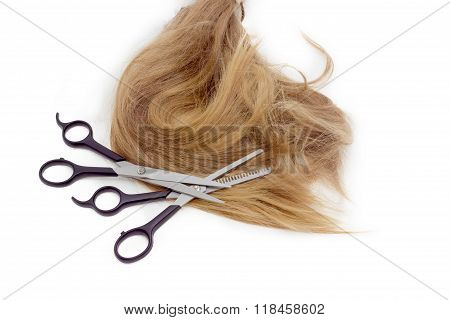 Two Hairdressers Scissors Against The Backdrop Of Strand Of Hair