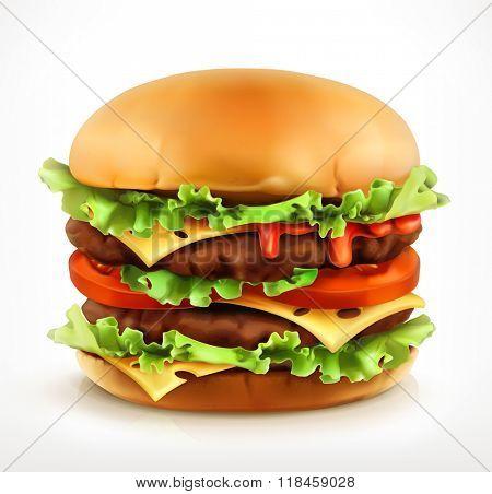 Big burger, vector icon