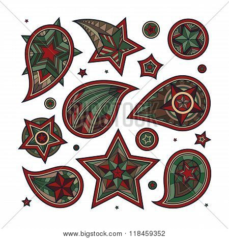 Hand drawn colored star swirls and decorative elements