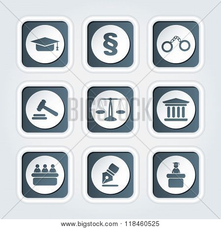 Set of icons related to the court crime and the law.