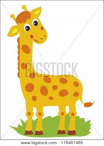 Giraffe. Vector Giraffe. Standing Giraffe. African Animal. Jolly Giraffe. Zoo, Circus. African Giraffe Statue. African Giraffe Figurine. Tall Giraffe. High Animal. Picture On A White Background.