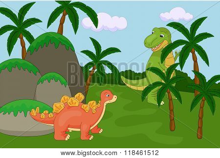 Funny Cute Tyrannosaurus And Spinosaurus On The Background Of A Prehistoric Nature. Educational Game