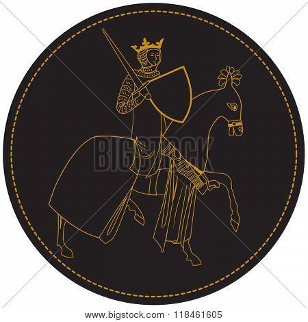 Medieval King Knight, Man On Horseback With Crown And Sword. Old Stamp In Circle. Vector Rider. The Rider With The Sword. An Armed Soldier. Armed With A Rider. King In The Background. Gold Crown.