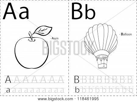 Cartoon Apple And Balloon. Alphabet Tracing Worksheet: Writing A-z And Educational Game For Kids