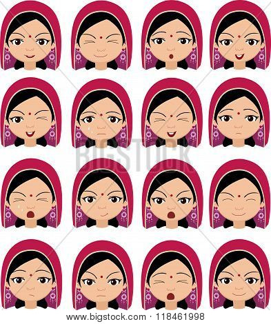 Muslim Girl In A Headdress Emotions: Joy, Surprise, Fear, Sadness, Sorrow, Crying, Laughing, Cunning