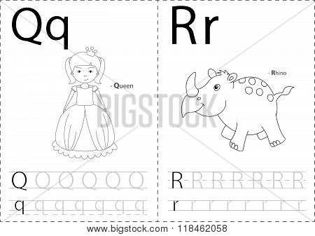 Cartoon Queen And Rhino. Alphabet Tracing Worksheet: Writing A-z And Educational Game For Kids