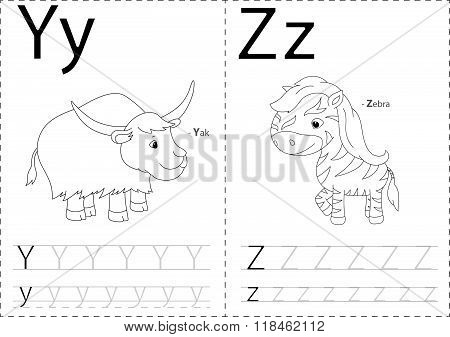 Cartoon Yak And Zebra. Alphabet Tracing Worksheet: Writing A-z And Educational Game For Kids