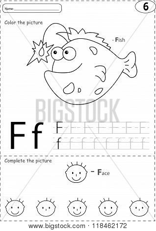 Cartoon Fish And Face. Alphabet Tracing Worksheet: Writing A-z And Educational Game For Kids